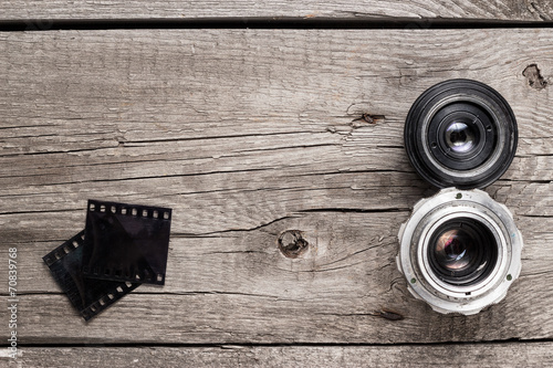 retro camera lenses and negative film - 70839768