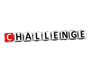 3D Word Challenge on white background