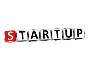 3D Word Startup on white background