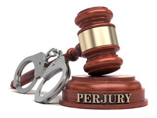 Perjury text on sound block & gavel