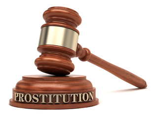 Prostitution text on sound block & gavel