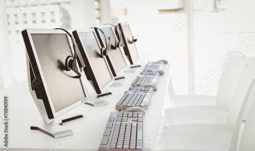 Call center computers and headsets - 70840199