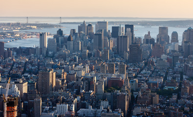 Aerial view of Downtown Manhattan, NYC.