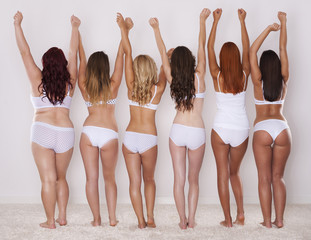 Different shapes of buttocks of young girls