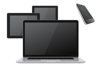 phone tablet and laptop on white background