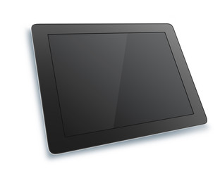 Black tablet with isolated on white background