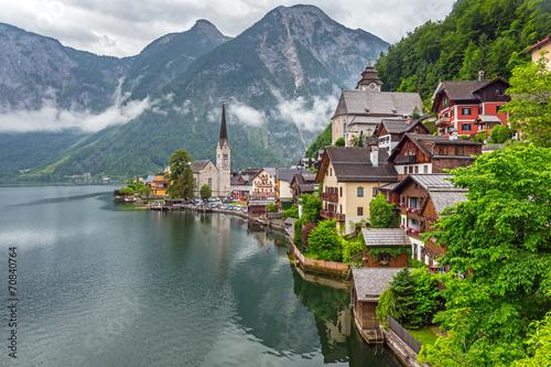 Hallstatt village in Alps at cloudy day, Austria|70840764