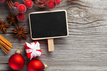 Christmas decoration on wood background, with free space for you