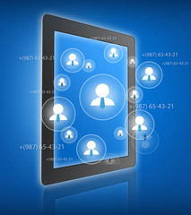 Tablet with silhouettes of business people