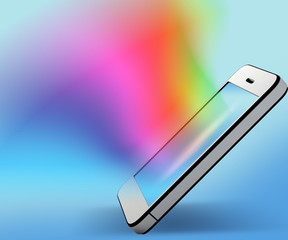 Mobile phone with colorful background