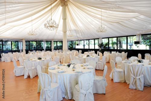 Leinwanddruck Bild Wedding venue under a marquee