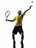 man tennis player at service serving silhouette