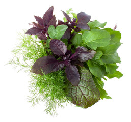 View from Above on Bouquet with Greens