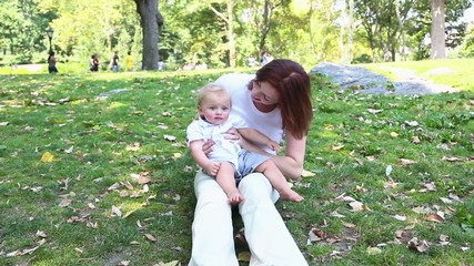 Happy Mother and Son at Park