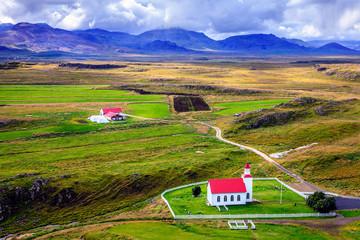 Icelandic church and farm
