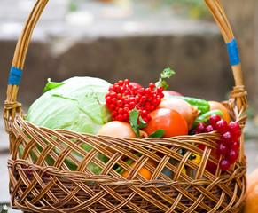 Полная корзина овощей
