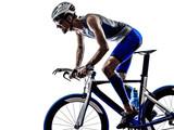 man triathlon iron man athlete cyclist bicycling