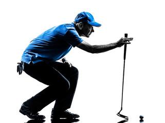 man golfer golfing crouching silhouette