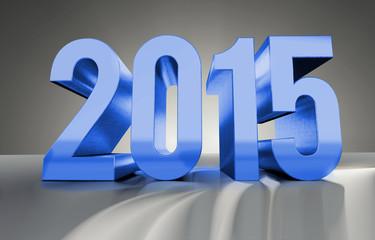 Jahreszahl 2015 aus glänzendem Metall, blau, 3D Render