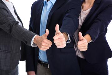 Geschäftsleute mit Daumen hoch: Konzept Garantie und Vertrauen