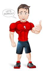 Cartoon Fitness Coach - vector
