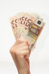 Euro bills on hand