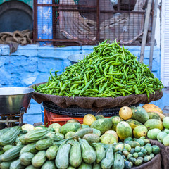Fresh paprica in traditional vegetable market in India.