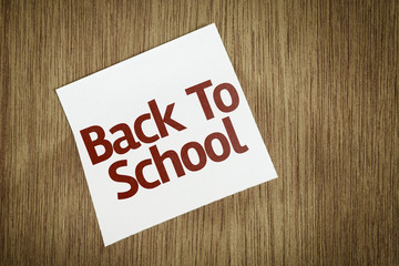 Back to School on Paper Note on texture background