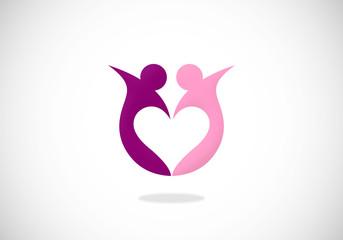 love partner sharing vector logo