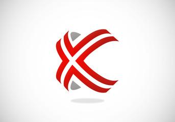 X symbol line modern vector logo