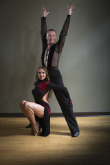 Dancers in dance studio.A man and woman.