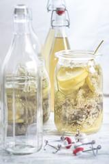 Einmachglas mit Holunderblüten, Sambucus nigra, Zitronenscheiben und Zucker