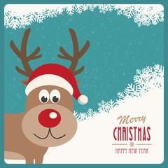red nose reindeer santa hat snowy winter background