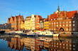 The riverside with promenade of Gdansk, Poland.