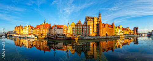 The riverside with promenade of Gdansk, Poland. - 70844777