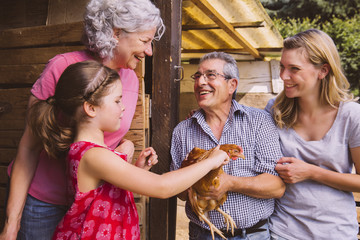 Großeltern mit Enkelin, Huhn begutachten