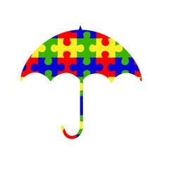 Autism Spectrum Umbrella with Puzzle Pieces