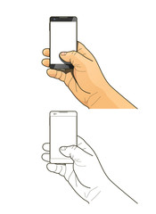 Phone in hand. Eps10 vector illustration. Isolated on white