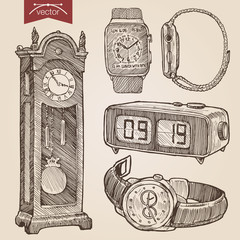 Engraving style hatching vector lineart clocks and watches set