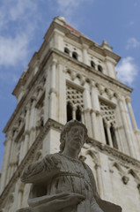 statue and trogir cathedral