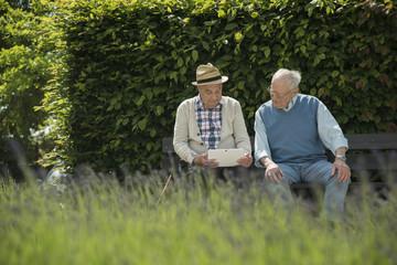 Zwei alte Männer mit Tablet-Computer im Park
