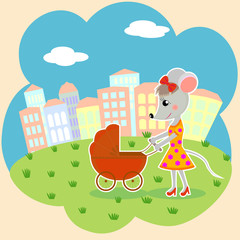 mouse mother with a stroller