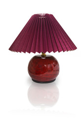 Red table lamp with shade