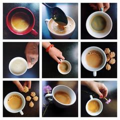 collage coffee with espresso, cappuccino, latte and mocha