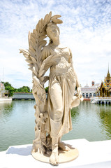 Statue at Bang Pa-In Palace ,Ayutthaya , Thailand