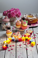Muffins, Geburtstagskuchen, Cup Cakes, Rosen