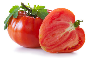 Large mature ox heart tomatoes.