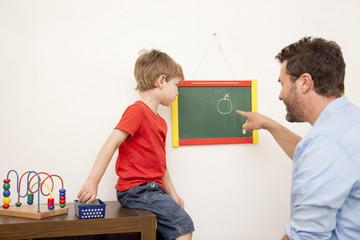 Vater und Sohn, Zeichnung auf einer Tafel
