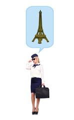 Flight attendant  dreaming of eiffel tower