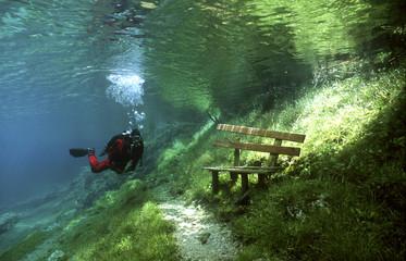 Österreich, Steiermark, Tragoess, Grüner See, Taucher vor einer Parkbank